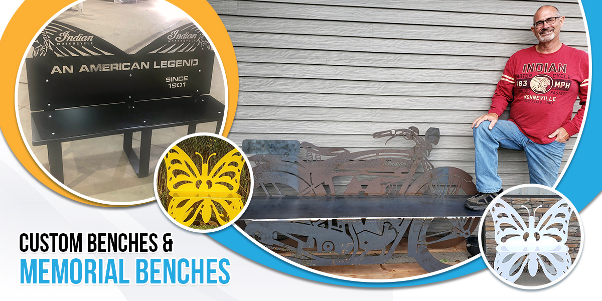 Memorial Benches, metal benches, custom benches